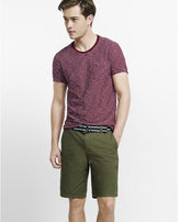Express 10 inch belted flat front cotton shorts