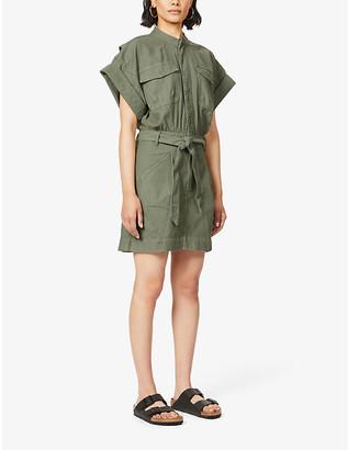 Frame Flap-pocket cotton mini dress