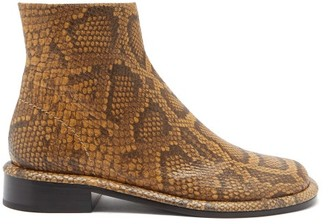 Proenza Schouler Boyd Python-effect Leather Ankle Boots - Beige Multi