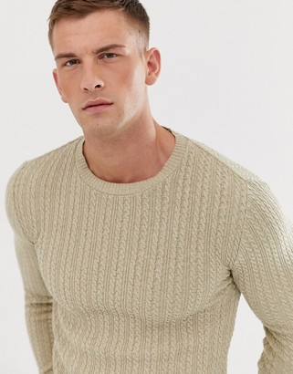 Asos Design DESIGN muscle fit lightweight cable sweater in oatmeal-Tan