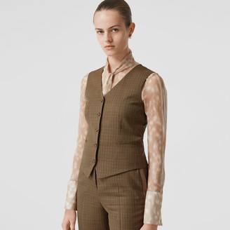 Burberry Houndstooth Check Wool Tailored Waistcoat
