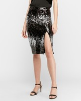 Express Ombre Sequin Pencil Skirt