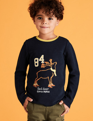 Marks and Spencer Pure Cotton Embroidered Stag Top (2-7 Yrs)