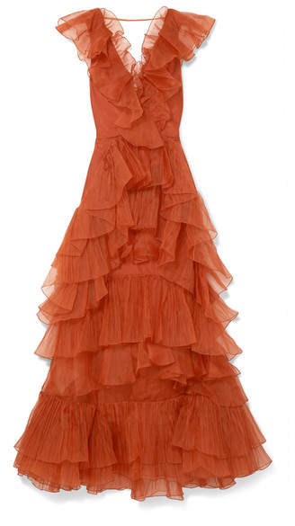 Johanna Ortiz Melancholy Dance Ruffled Silk-organza Gown - Light brown
