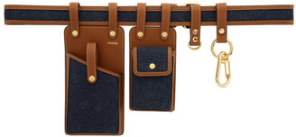 Fendi Indigo Denim Multi Pockets Belt Bag