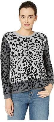 Vince Camuto Long Sleeve Leopard Jacquard Pullover Sweater