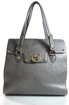 DKNY Gray Metallic Leather Gold Tone Accents Large Satchel Tote Bag
