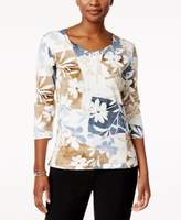 Alfred Dunner Petite Patchwork Printed Top