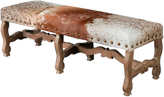 One Kings Lane Penny Nailhead Bench - Cowhide - frame, natural; upholstery, brown/white; nailheads, gold