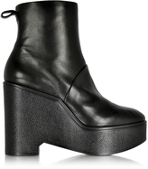 Robert Clergerie Bisout Black Leather Wedge Boot