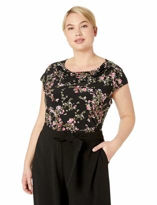 Nine West Women's Plus Size Short Sleeve Jewel Neck Printed ITY