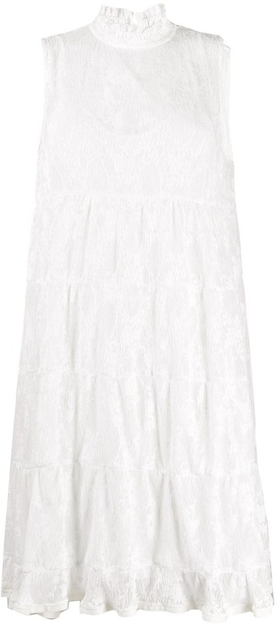 See by Chloe High-Neck Floral-Lace Dress