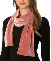 Pure Style Girlfriends Pink Velvet Ribbed Scarf