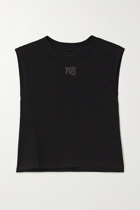 alexanderwang.t - Cropped Printed Cotton-jersey Tank - Black