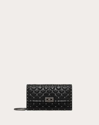 Valentino Garavani Crinkled Lambskin Rockstud Spike Crossbody Clutch Women Black Cotton, Polyester OneSize