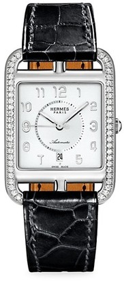 Hermes Cape Cod Stainless Steel, Diamond & Alligator Strap Watch