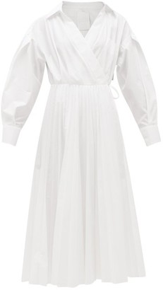 Valentino Pleated Cotton-blend Poplin Wrap Dress - White