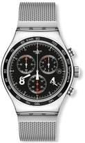 Swatch Men's Quartz Watch New Irony Chrono Blackie YVS401G with Metal Strap