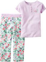 Carter's 2-pc. Purple Stripe Fleece Pajama Set - Toddler Girls 2t-5t