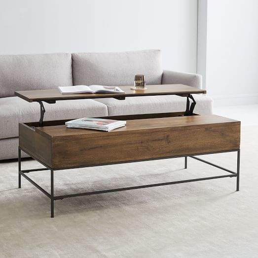 Pop Up Coffee Table.Industrial Storage Pop Up Coffee Table Large Cafe