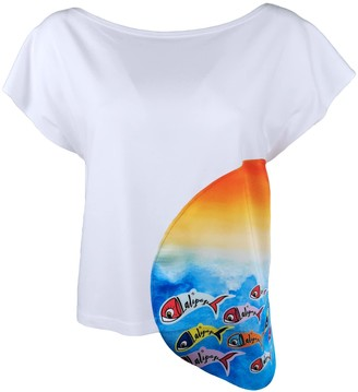 Lalipop Design White Boat Neck Blouse With Digital Fish Prints - Fishes In The Sunset
