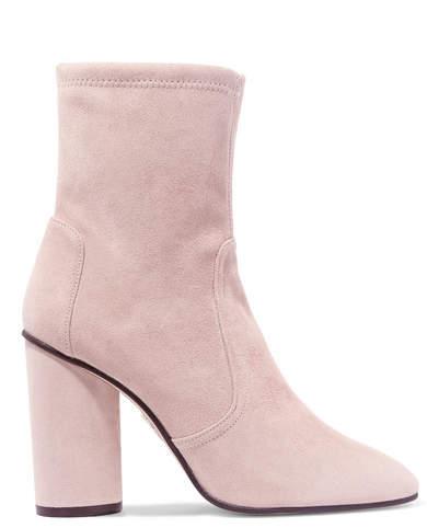 Stuart Weitzman Margot Suede Sock Boots - Pastel pink