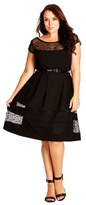 City Chic Plus Size Women's Fit & Flare Dress With Delicate Lace Insets