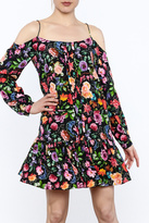 Nicole Miller Black Floral Silk Dress