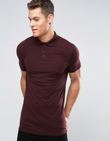 Asos Longline Muscle Polo Shirt In Oxblood