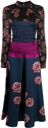 Ports 1961 Floral Shirred Midi Dress