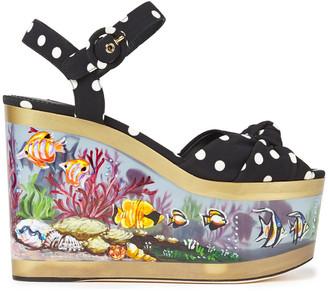 Dolce & Gabbana Knotted Polka-dot Cady Platform Wedge Sandals