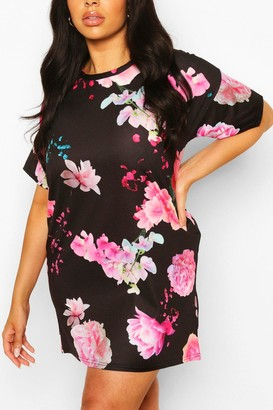 boohoo Plus Floral Oversized Tshirt Dress