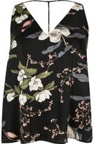 River Island Womens Plus black floral print T-bar cami top