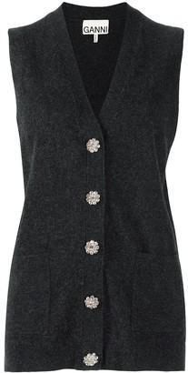 Ganni Crystal-Embellished Cashmere Waistcoat