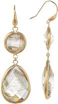 Rivka Friedman 18K Gold Clad Textured Bezel Gold Rutilated Crystal Double Dangle Earrings