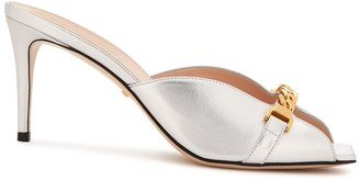 Gucci Sylvie 75 silver leather mules