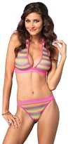 Leg Avenue Women's Net Rainbow Striped Halter Bra Top Brazilian Panty 2 Pieces