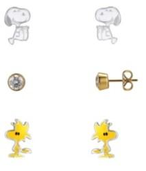 Peanuts Two-Tone Snoopy, Enamel Woodstock, Cubic Zirconia Earrings Trio Set, 3 PiecesGold-Flash Fine Silver Plate