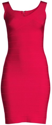 Herve Leger Soft V-Neck Bandage Sheath Dress