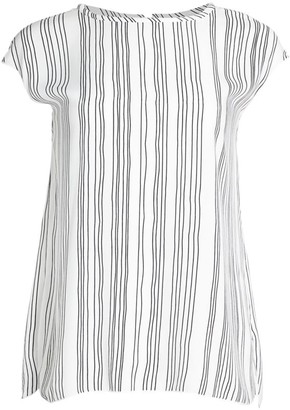Piazza Sempione Cap Sleeve Striped Shell Top
