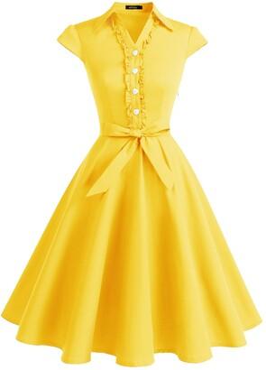 WedTrend Women's 50s Retro Vintage Dress Cap Sleeve Rockabilly Swing Dress WTP10007 Yellow XS
