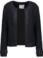 L'Agence Devereaux Faux Leather Whipstitch-Trimmed Bouclé Blazer