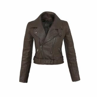 Altiir Women's Neo-Classic Biker Jacket In Brown