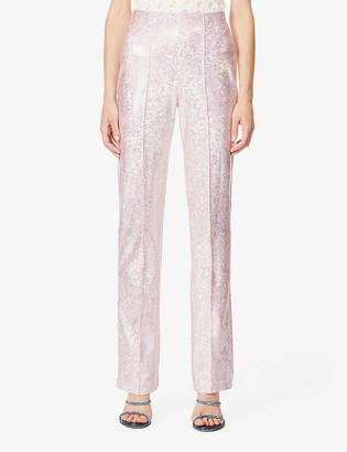 Saks Potts Lissi shimmer high-rise stretch-jersey trousers