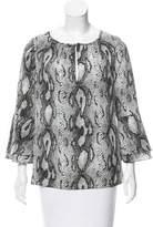 Rachel Zoe Snake Print Peplum Sleeve Blouse w/ Tags