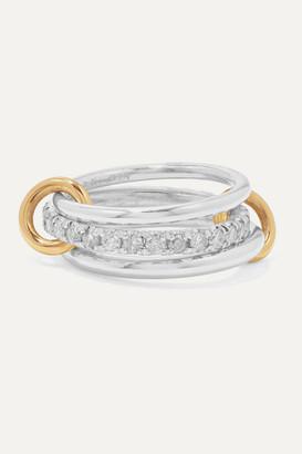 Spinelli Kilcollin Petunia Set Of Three Sterling Silver And 18-karat Gold Diamond Rings - 6