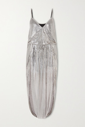 Saint Laurent Draped Chainmail Gown - Silver