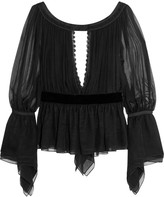 Emilio Pucci Cutout pleated silk-chiffon blouse
