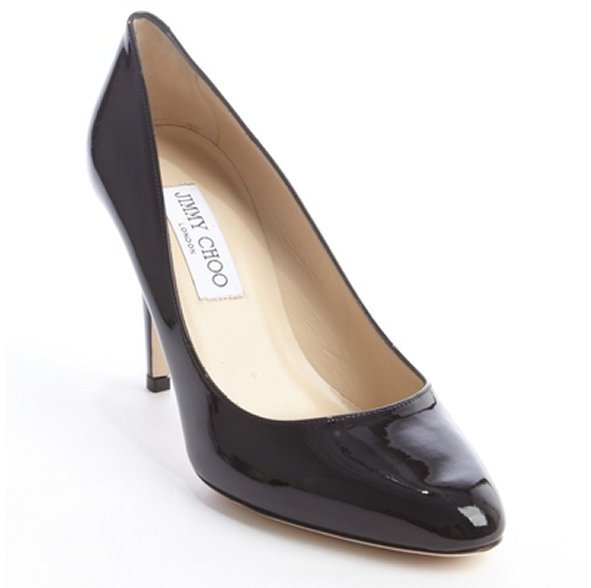 Jimmy Choo black patent leather 'Victory' tapered toe pumps