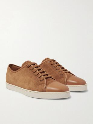 John Lobb Levah Cap-Toe Leather And Suede Sneakers
